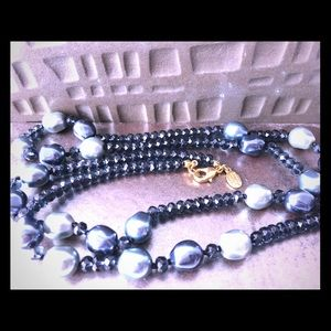 """Nolan Miller Long Blue Necklace Faux Sapphire 36"""""""